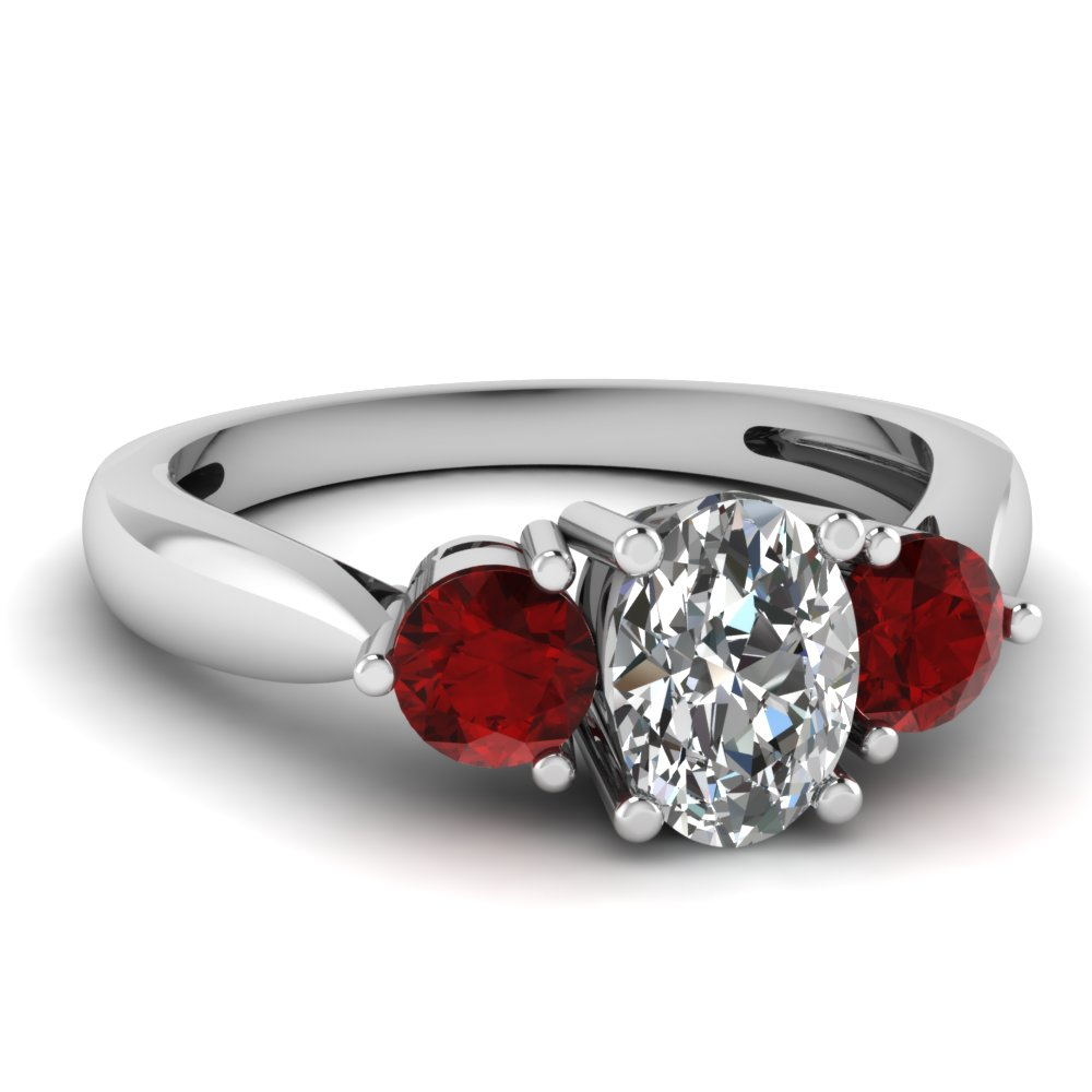 Oval Shaped Diamond 3 Stone Oval Diamond Ring With Red Ruby In 14K