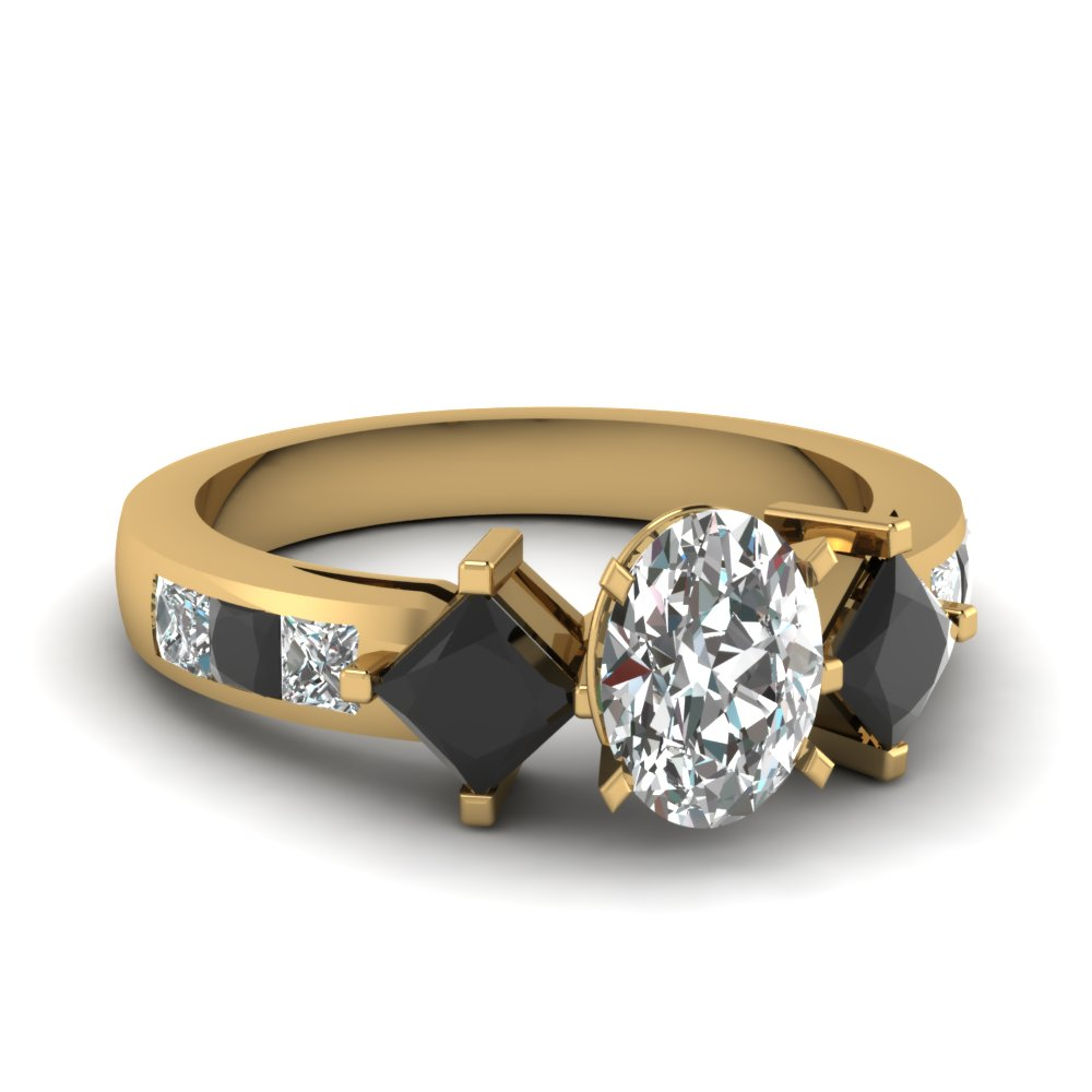 square accent oval engagement ring with black diamond in FDENS208OVRGBLACK NL YG