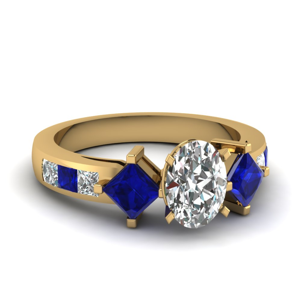 square accent oval diamond engagement ring with sapphire in FDENS208OVRGSABL NL YG