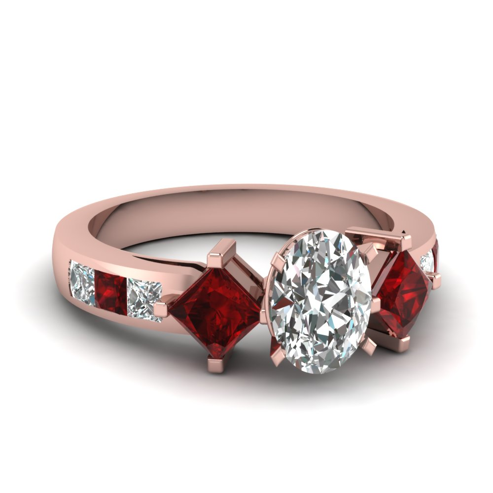 Oval Diamond Ring With Ruby