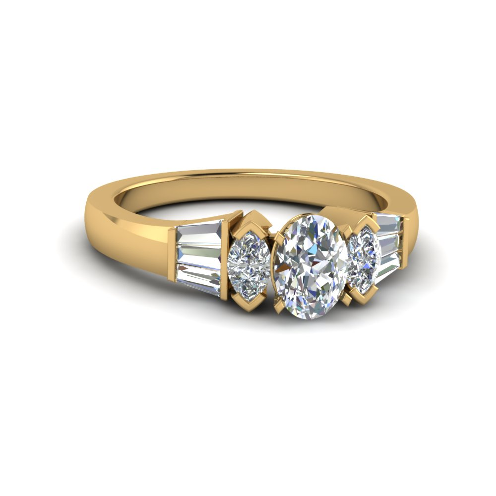 oval shaped diamond engagement ring in 14K yellow gold FDENR1120OVR NL YG