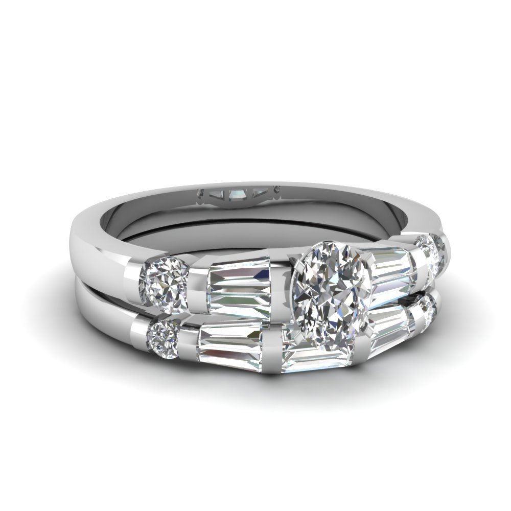 Oval & Baguette Diamond Ring Set