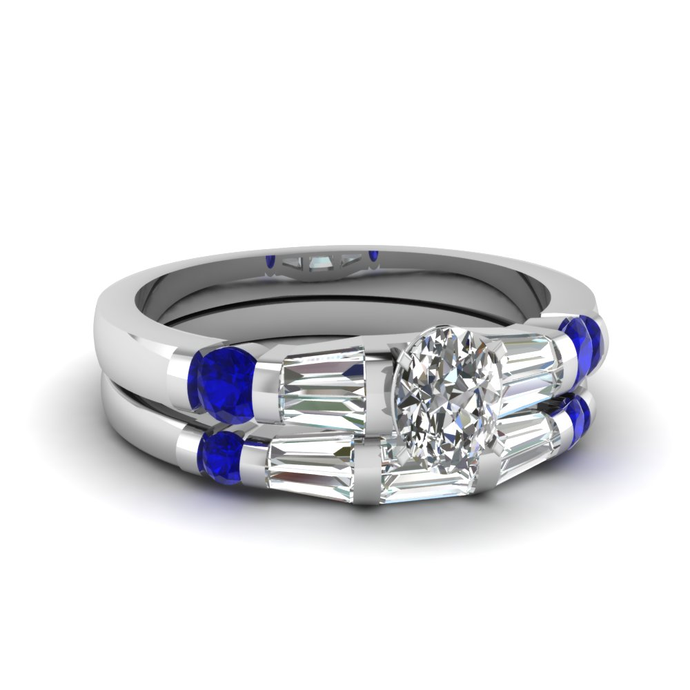 oval shaped diamond bar set baguette wedding ring sets with blue sapphire in 14k white gold - Blue Sapphire Wedding Ring Sets