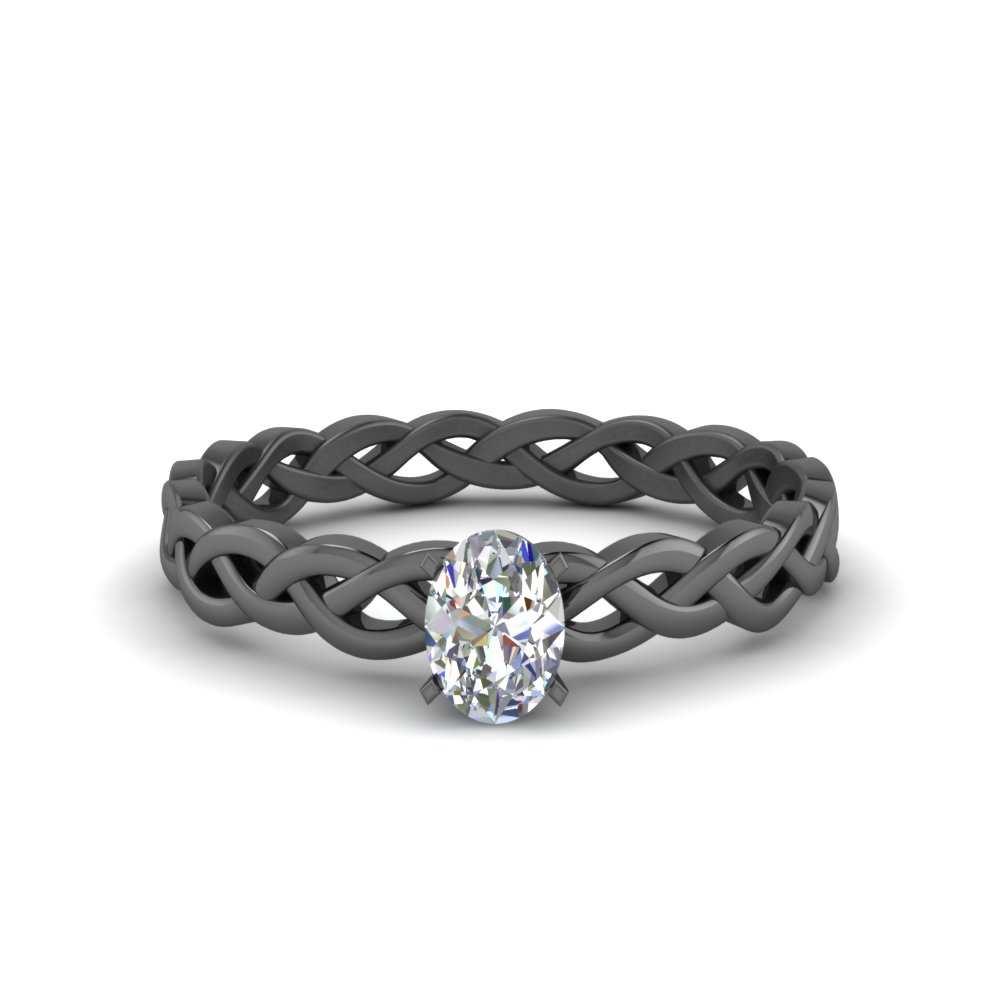 oval shaped braided solitaire engagement ring in FD8681OVR NL BG
