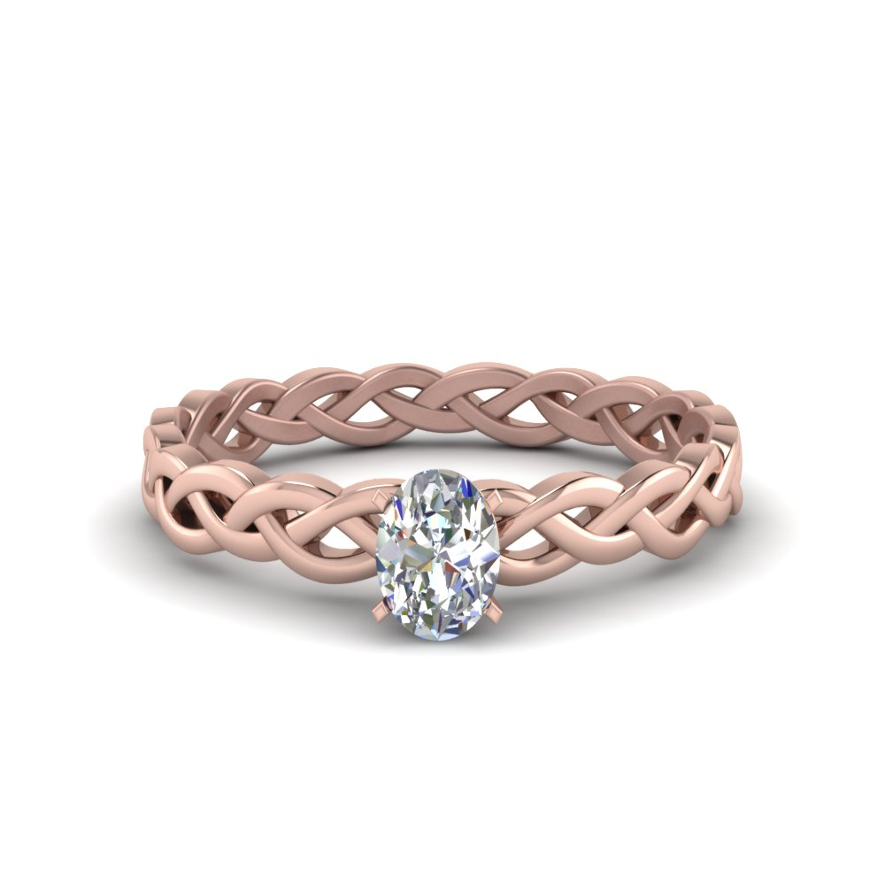 oval shaped braided solitaire engagement ring in FD8681OVR NL RG