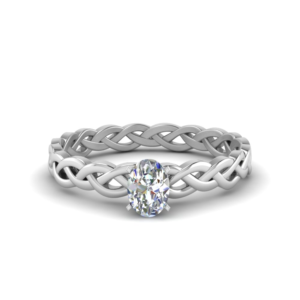 oval shaped braided solitaire engagement ring in FD8681OVR NL WG