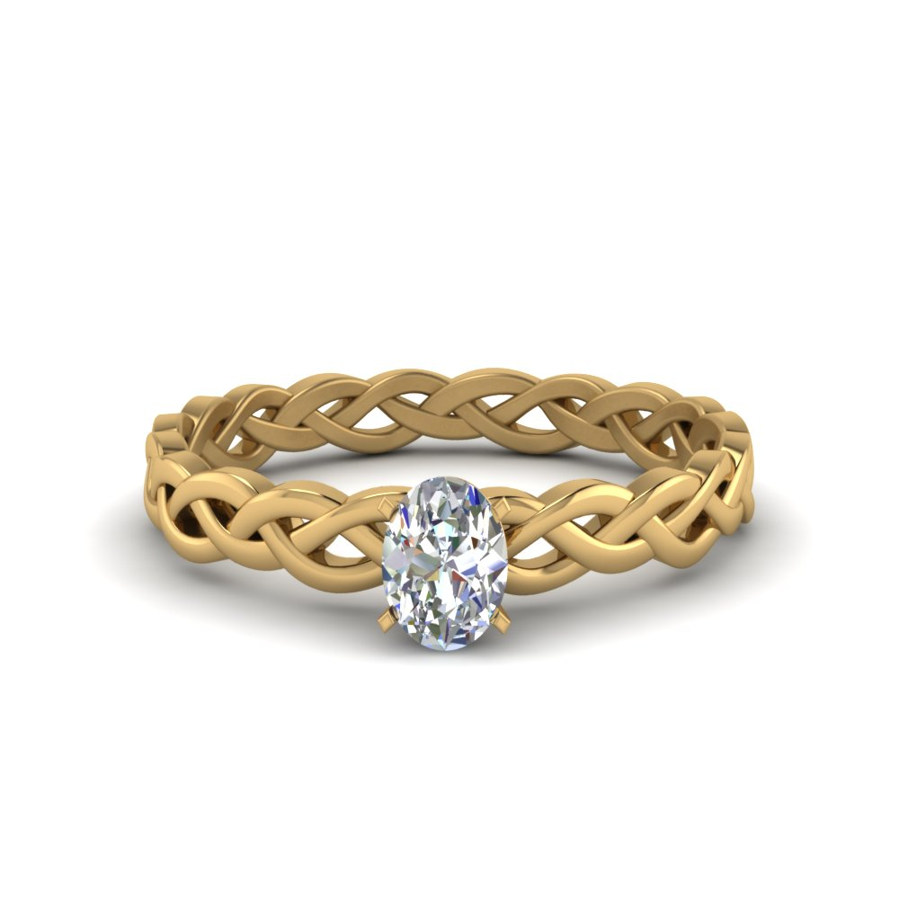 oval shaped braided solitaire engagement ring in FD8681OVR NL YG