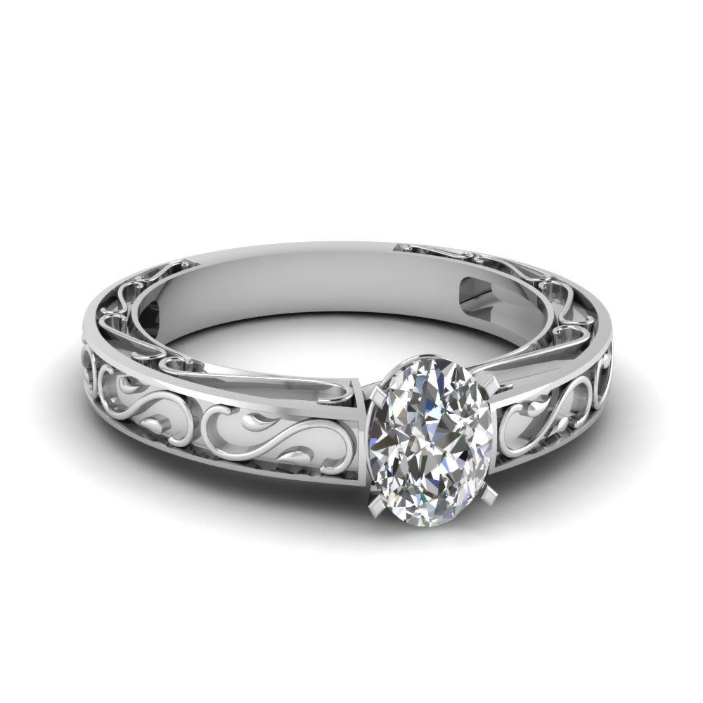 carved oval diamond solitaire engagement ring in FDENS3590OVR NL WG