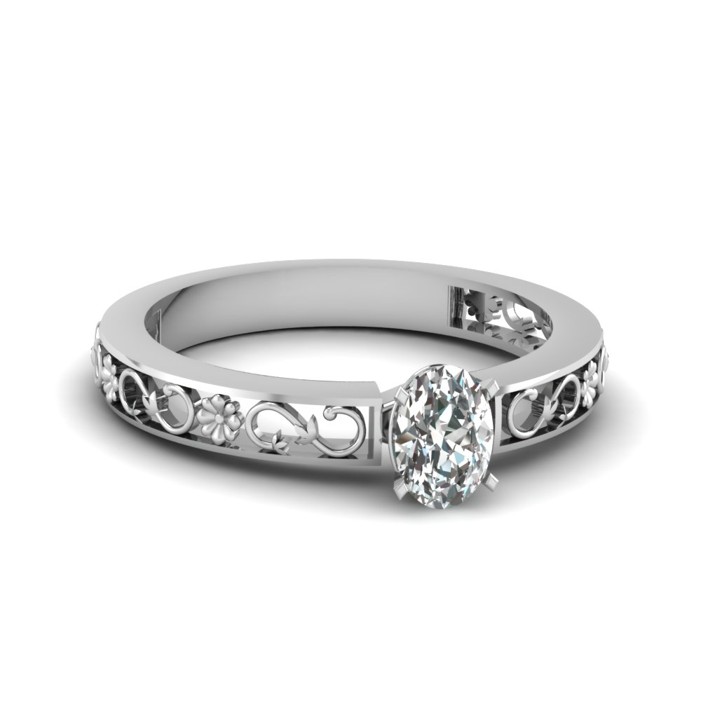 Oval Diamond Antique Solitaire Ring