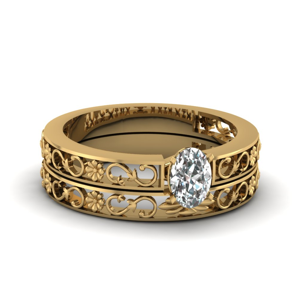oval shaped flower filigree solitaire wedding set in 14K yellow gold FDENS3286OV NL YG