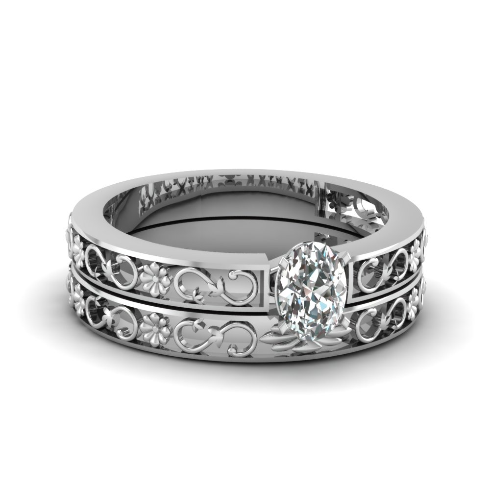 Floral Platinum Wedding Ring Set