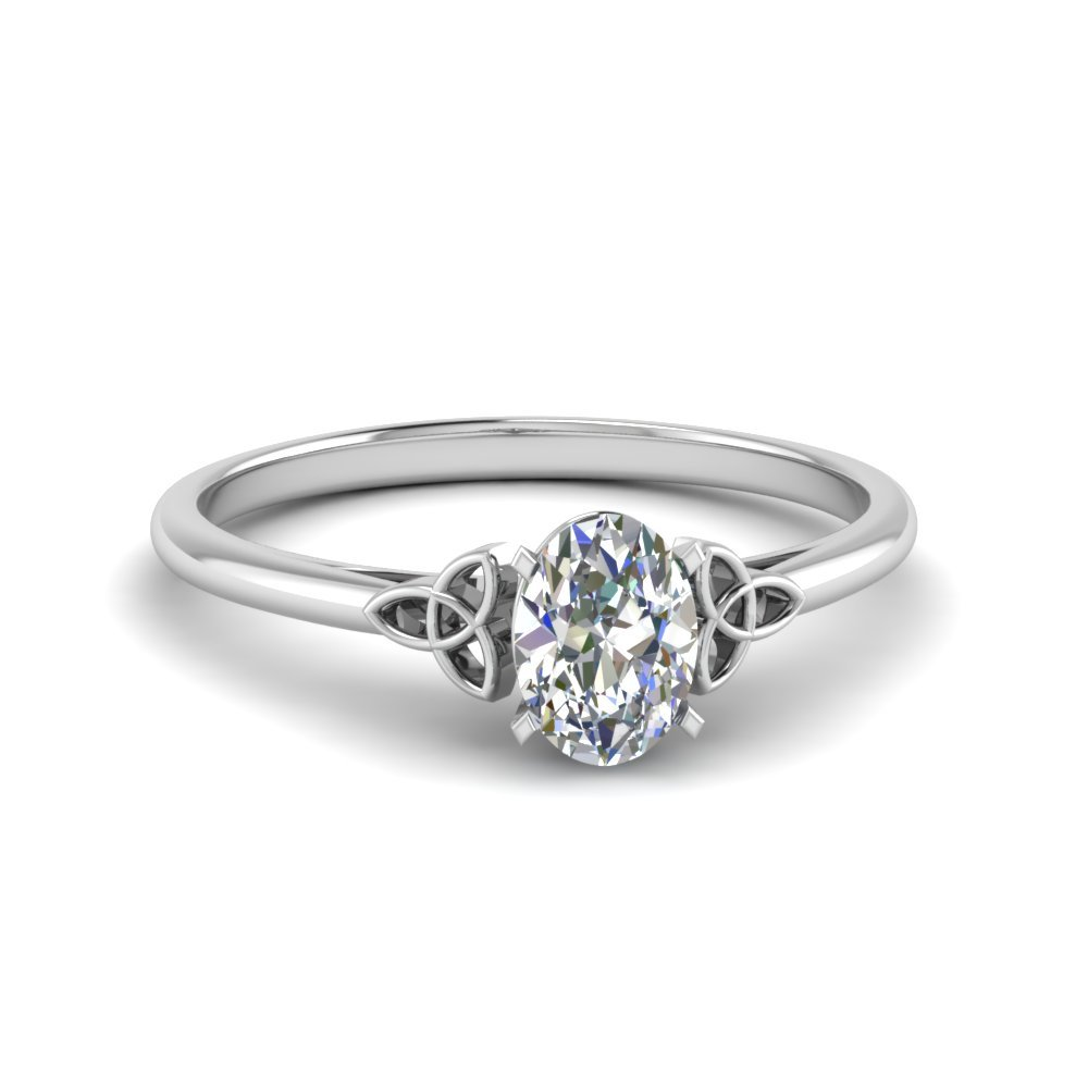 Celtic Oval Diamond Solitaire Ring