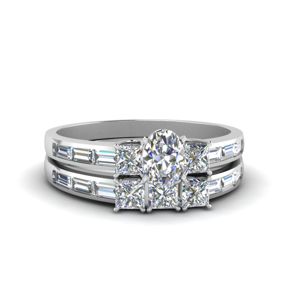 Oval Shaped Diamond Channel Baguette And Princess Accent Stone ...