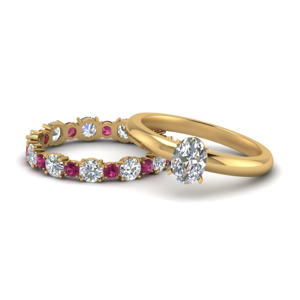 classic-oval-shaped-diamond-solitaire-with-pink-sapphire-eternity band-set-in-FD9113OVGSADRPI-NL-YG