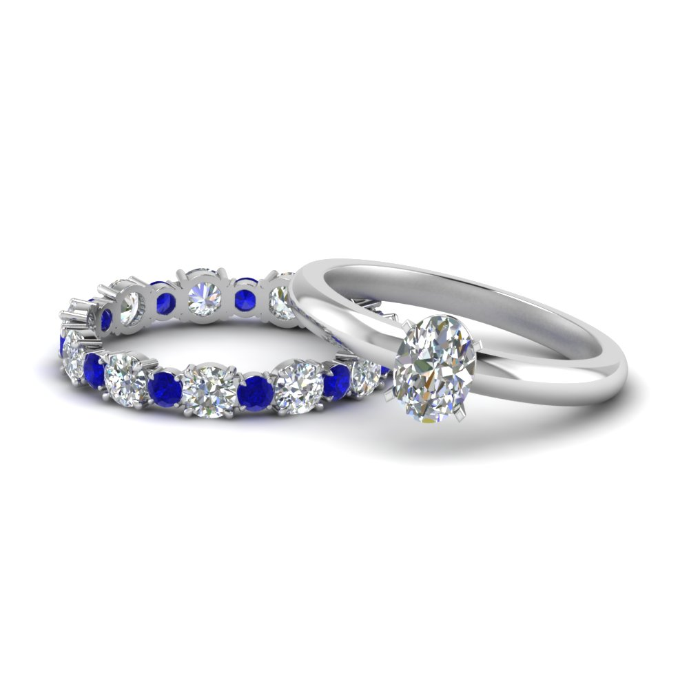 Oval Shaped Wedding Sets With Sapphire