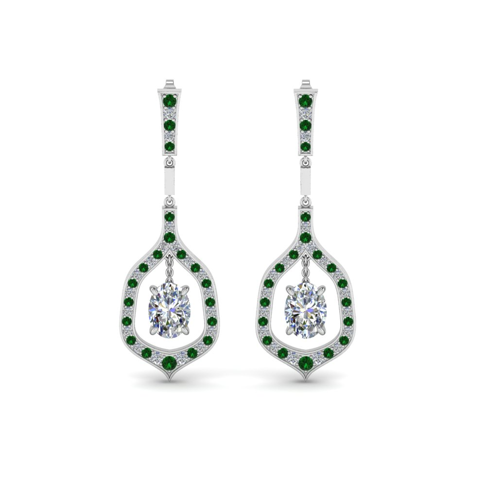 Oval Shaped Diamond Drop Hanging Earring With Emerald In Fdear8441ovgemgrangle1 Nl Wg
