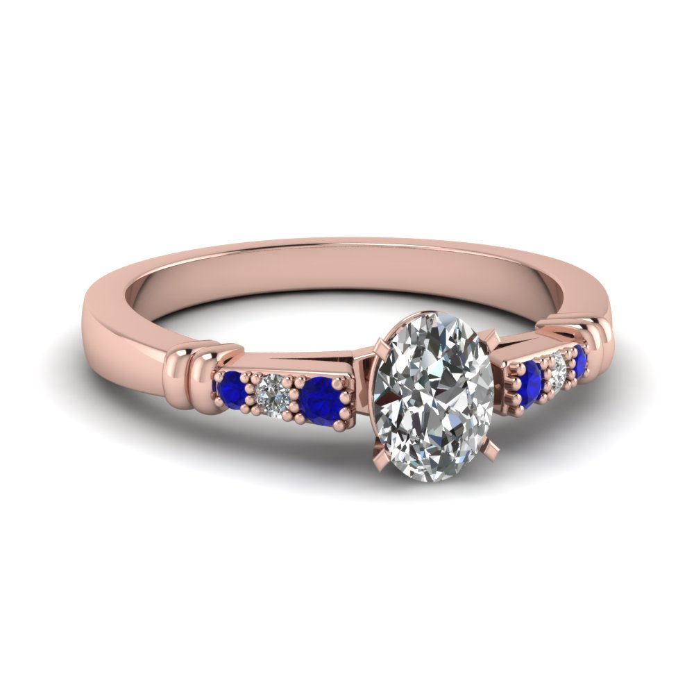pave bar set oval shaped diamond engagement ring with sapphire in FDENS363OVRGSABL NL RG