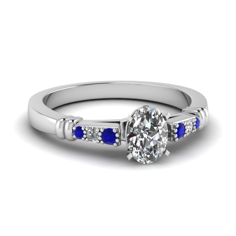 pave bar set oval shaped diamond engagement ring with sapphire in FDENS363OVRGSABL NL WG