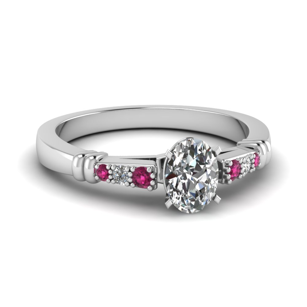 pave bar set oval shaped diamond engagement ring with pink sapphire in FDENS363OVRGSADRPI NL WG