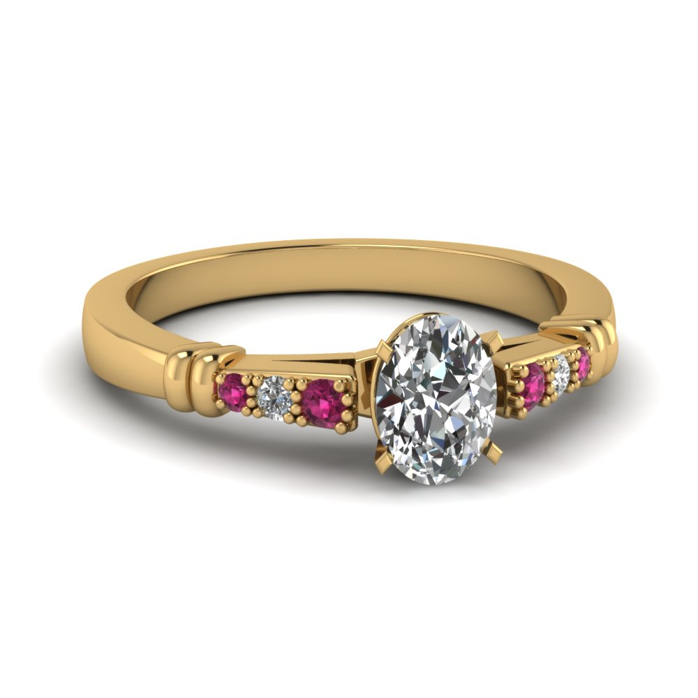 pave bar set oval shaped diamond engagement ring with pink sapphire in FDENS363OVRGSADRPI NL YG