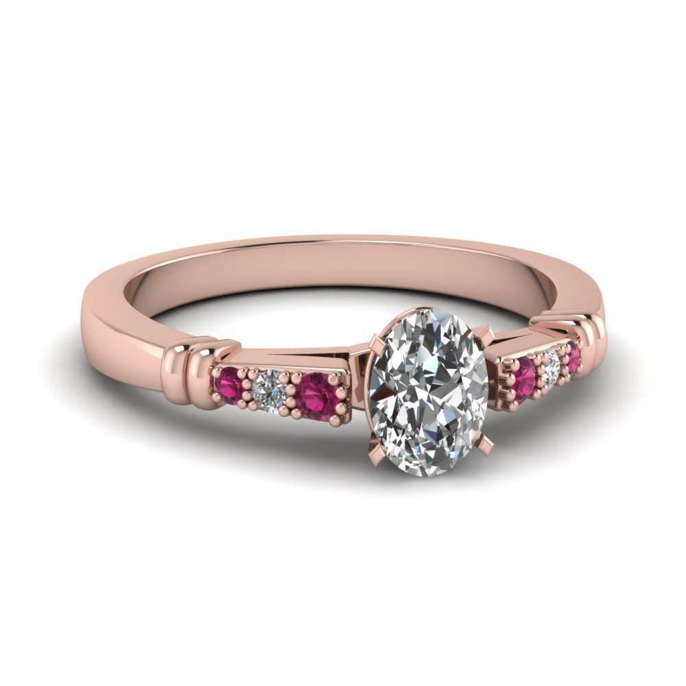 pave bar set oval shaped diamond engagement ring with pink sapphire in FDENS363OVRGSADRPI NL RG