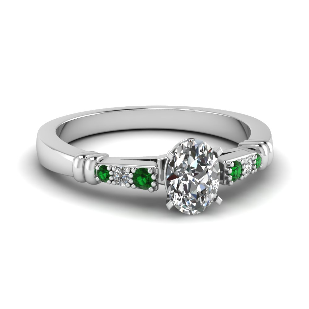 pave bar set oval shaped diamond engagement ring with emerald in FDENS363OVRGEMGR NL WG