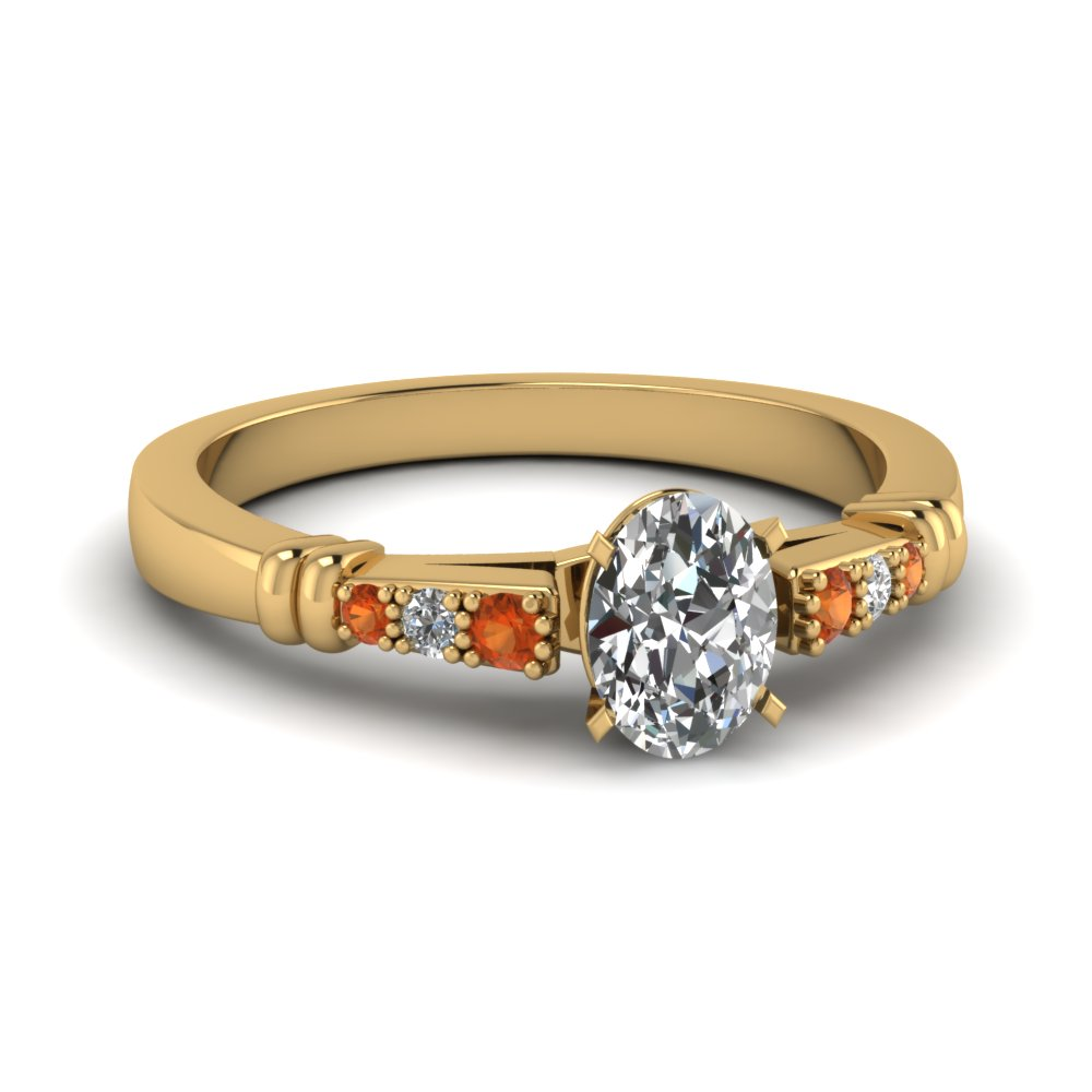 pave bar set oval shaped diamond engagement ring with orange sapphire in FDENS363OVRGSAOR NL YG
