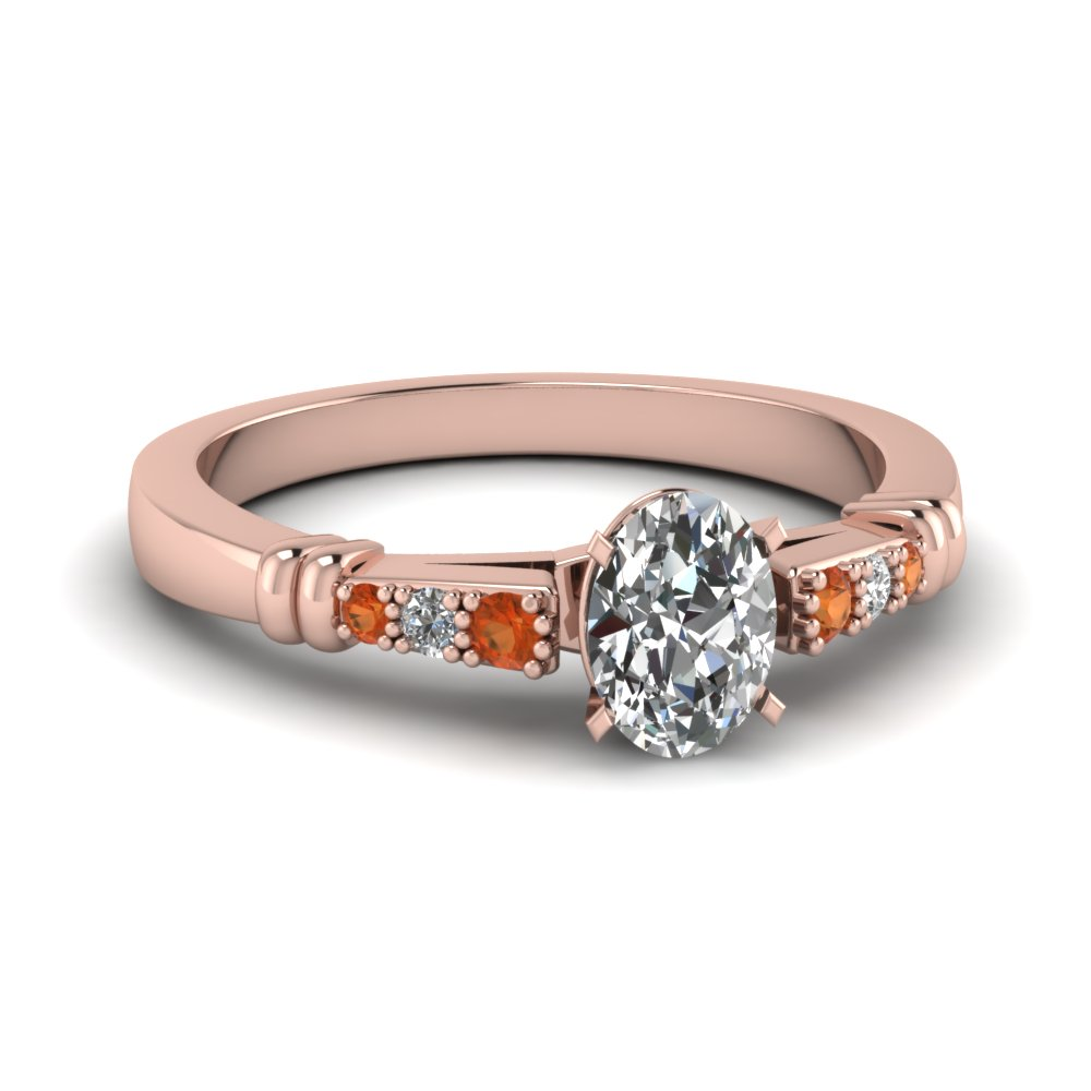 pave bar set oval shaped diamond engagement ring with orange sapphire in FDENS363OVRGSAOR NL RG