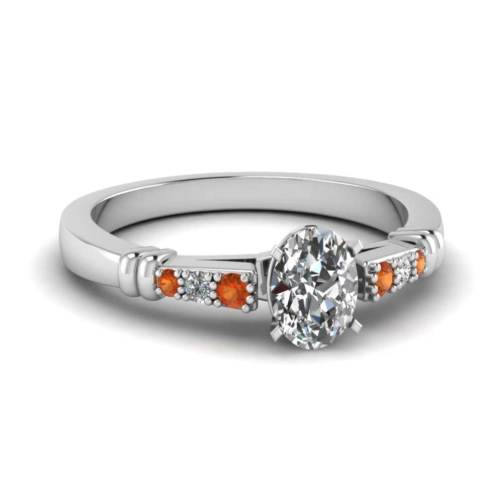 pave bar set oval shaped diamond engagement ring with orange sapphire in FDENS363OVRGSAOR NL WG