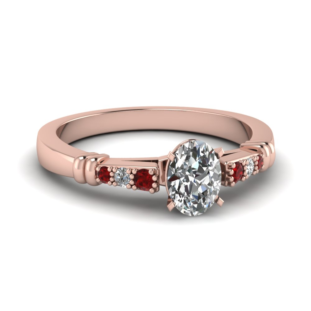 pave bar set oval shaped diamond engagement ring with ruby in FDENS363OVRGRUDR NL RG