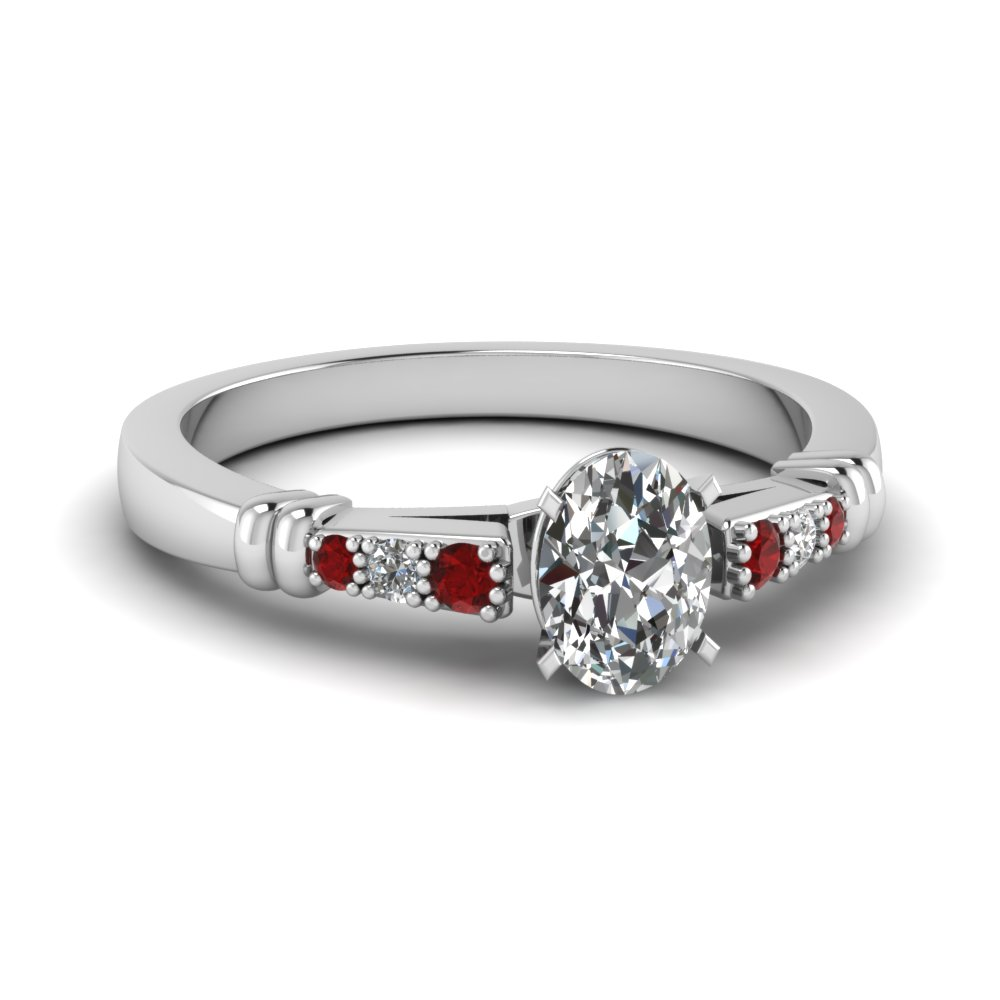 pave bar set oval shaped diamond engagement ring with ruby in FDENS363OVRGRUDR NL WG