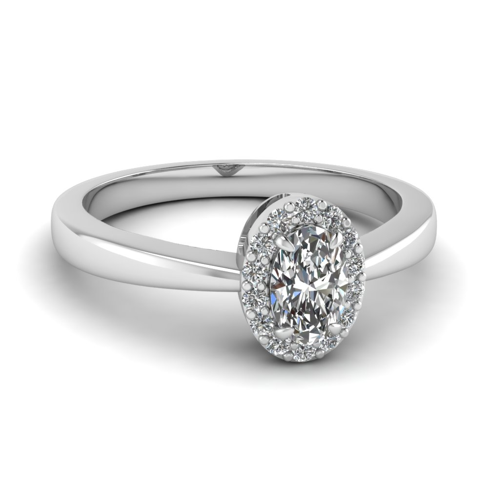 Oval Shaped Diamond Halo Engagement Rings With White Diamond In 14k White  Gold