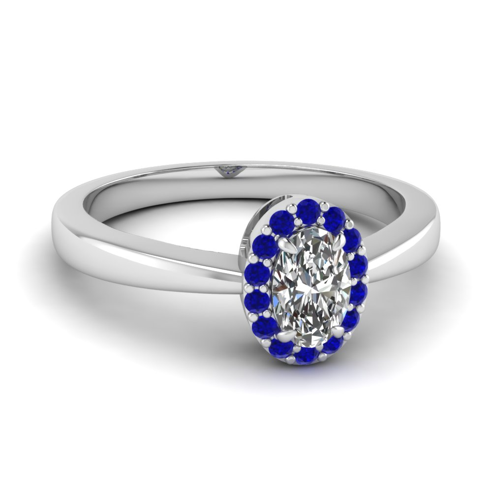 Tapered Oval Shaped Halo Ring