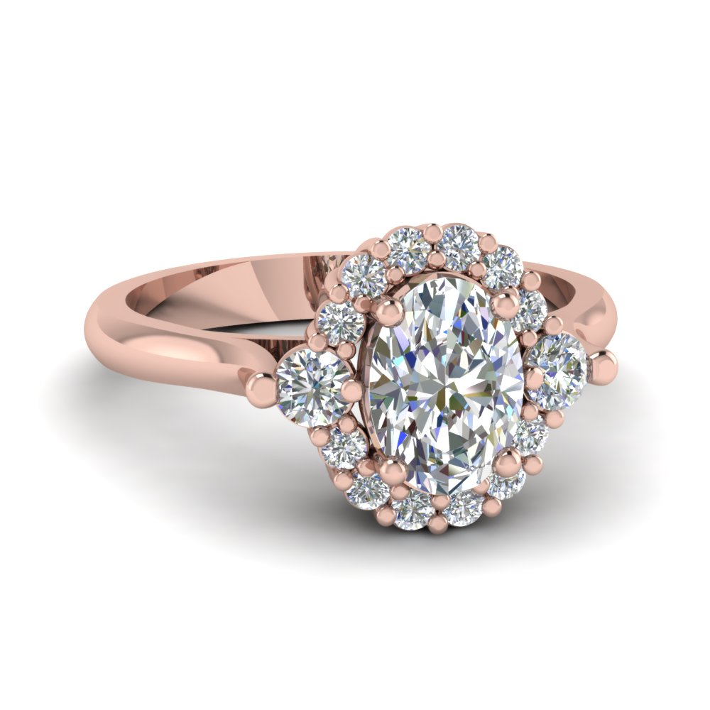 Oval Shaped Diamond Engagement Ring In 14k Rose Gold Fd1133ovr Nl Rg
