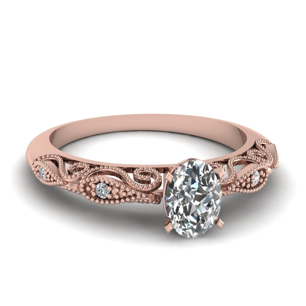 Oval Shaped Paisley Diamond Ring In 14K Rose Gold Fascinating Diamonds