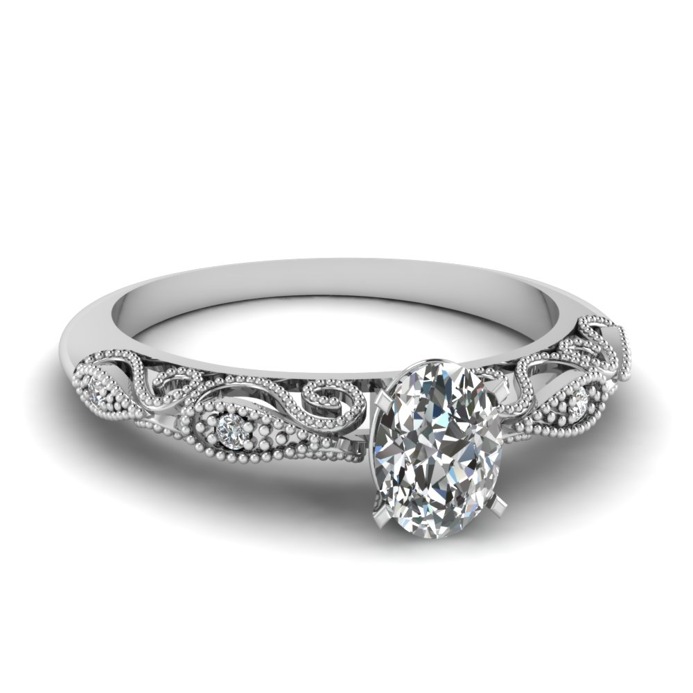 Oval Shaped Diamond Milgrain Engagement Rings With White Diamond In 14k  White Gold