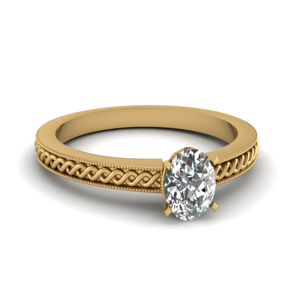 Gold Oval Diamond Milgrain Rings