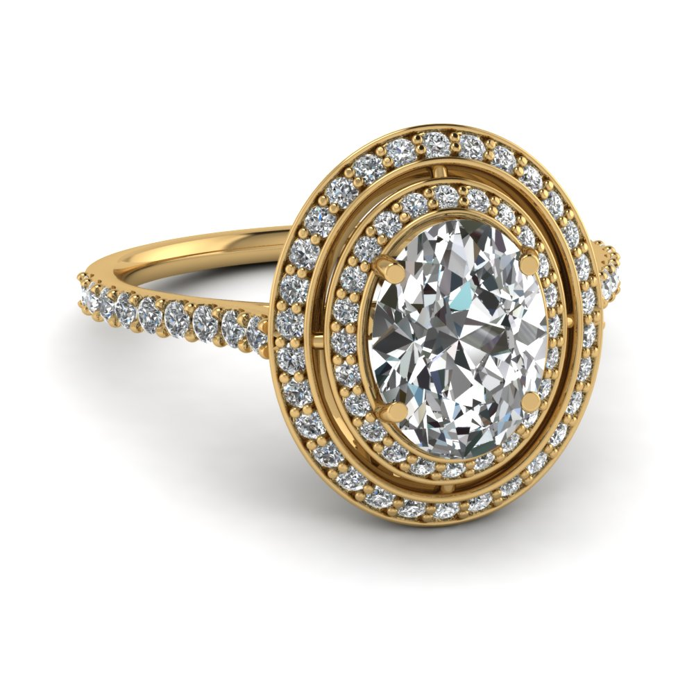 Pave Set Oval Diamond Yellow Gold Double Halo Ring