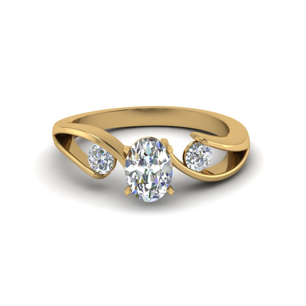 Tension Set 3 Stone Oval Engagement Rings