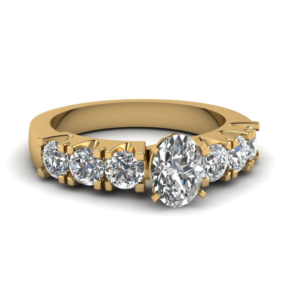 oval shaped diamond engagement ring in 14K yellow gold FDENR3037OVR NL YG