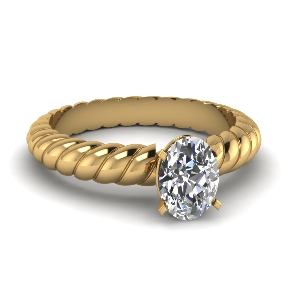 Oval Diamond Solitaire Ring Yellow Gold