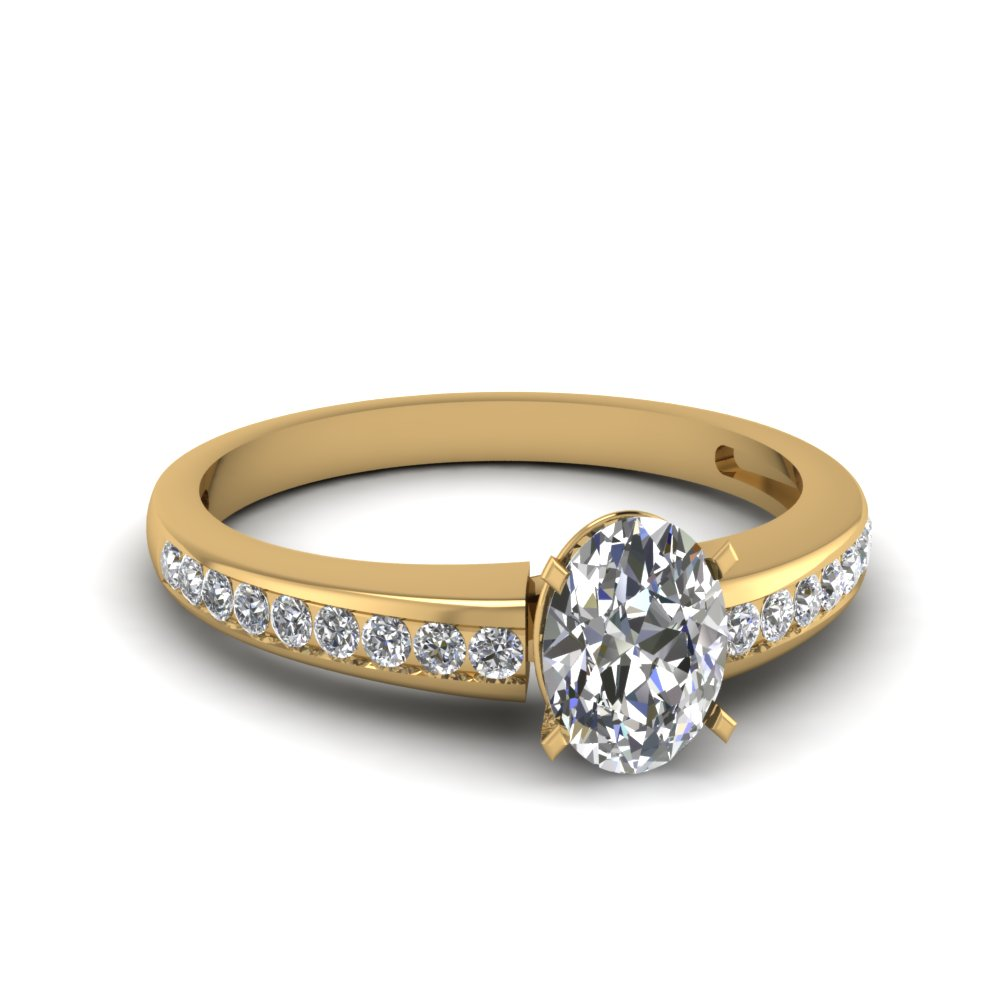 channel set oval diamond engagement ring in FDENS3018OVR NL YG