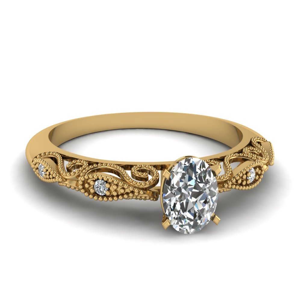 Oval Shaped Paisley Diamond Ring In 18k Yellow Gold