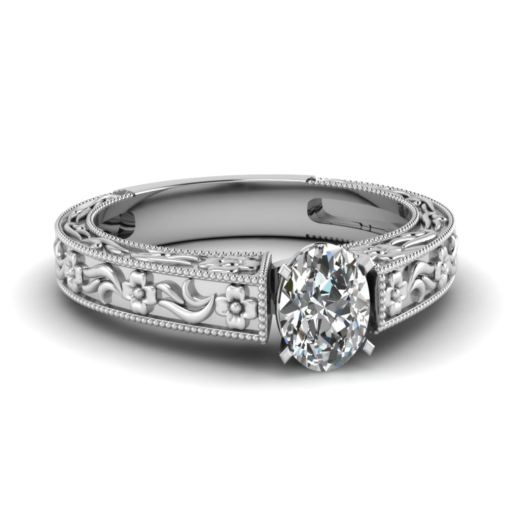 Platinum Oval Shaped Ring