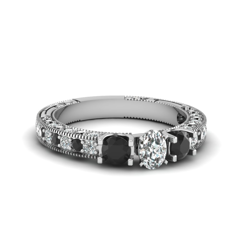 Oval Shaped Black Diamond Milgrain Ring