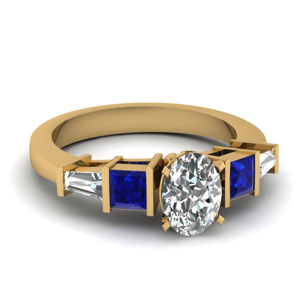 Oval Shaped Diamond & Sapphire Rings