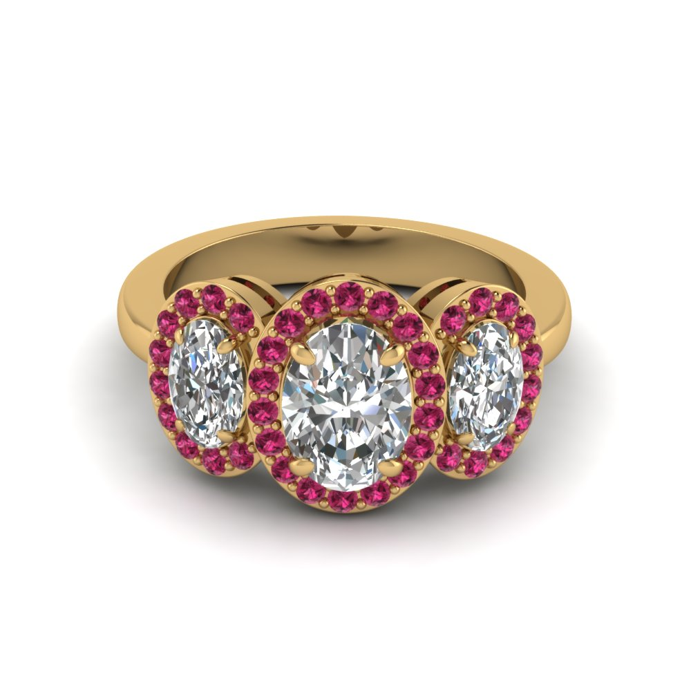 oval shaped diamond engagement ring with dark pink sapphire in 14K yellow gold FD8041OVRGSADRPIANGLE1 NL YG GS
