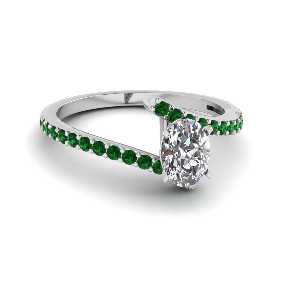oval shaped diamond engagement ring with green emerald in 14K white gold FDENS3007OVRGEMGR NL WG GS