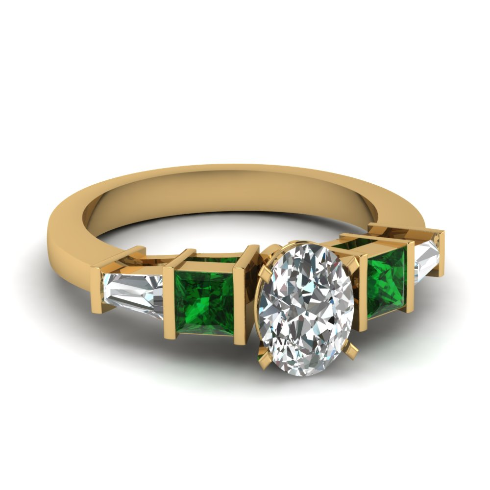 Oval Shaped Diamond & Emerald Rings