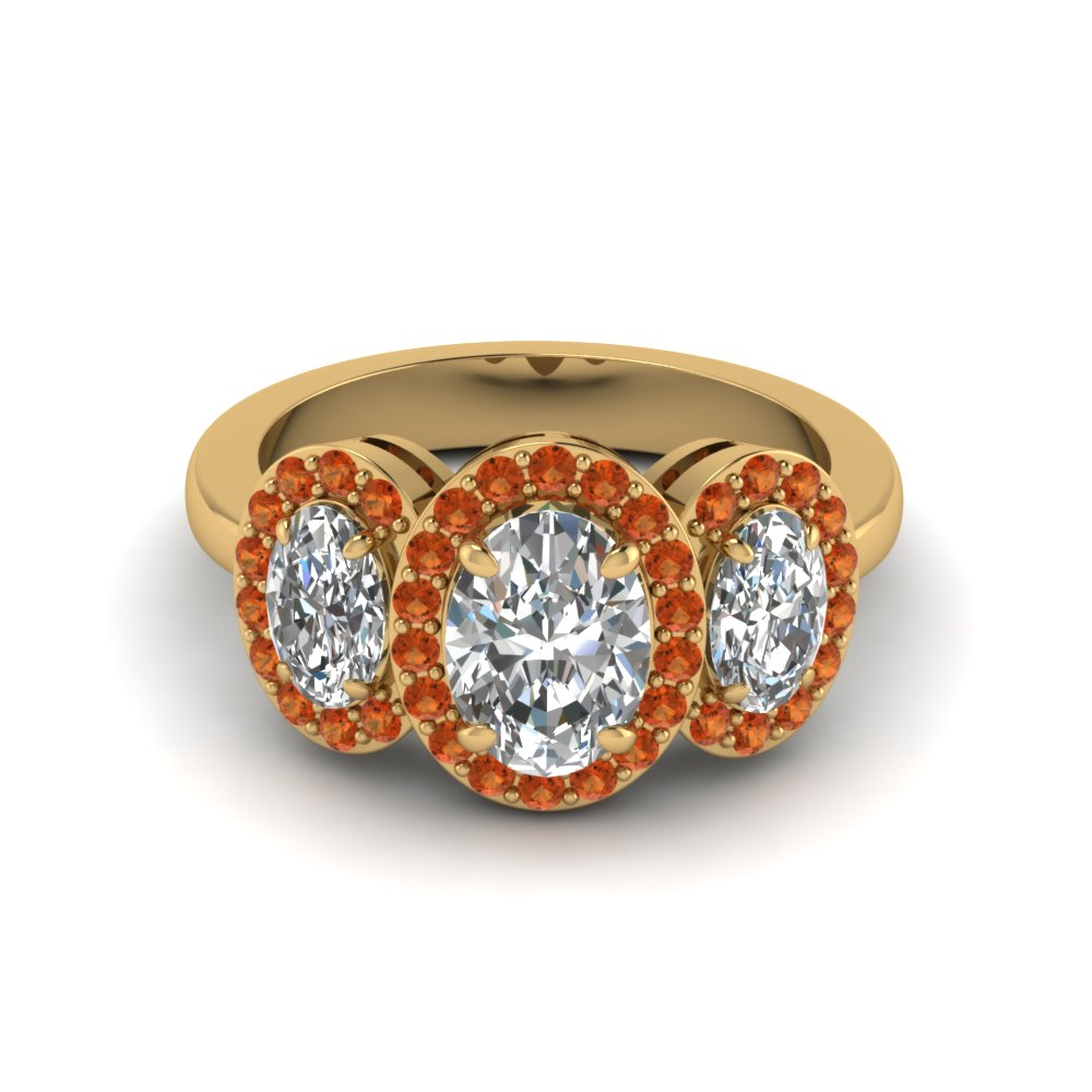 oval shaped diamond engagement ring with orange sapphire in 14K yellow gold FD8041OVRGSAORANGLE1 NL YG GS
